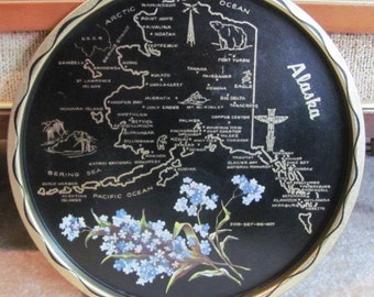Vintage 60's Black and Gold Alaska Map Souvenir Tin Tray with For-get-me-not State Flower - Entertaining - Serving - Barbecue - Patio