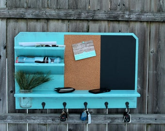 All In One - Mail Holder with Cork, Dry Erase, Shelf & Key Hooks - MADE TO ORDER Family Message Board, Message Center, Chalkboard, Corkboard
