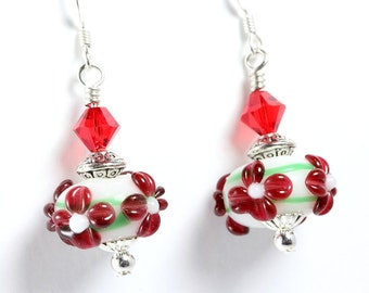 Christmas or Valentines Lampwork Earrings, Red and Green, Swarovski Crystals