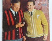 Vintage 1960s Mens and Boys Sweater and Vest Knitting Pattern Book  34 different patterns by Columbia Minerva Knit Pattern Book