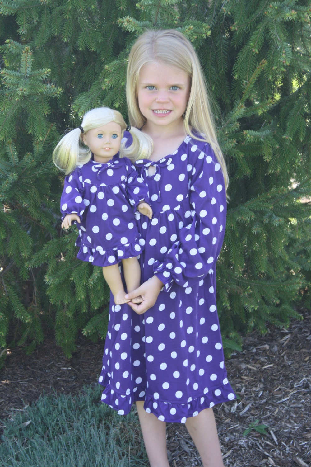 When I was little, my Aunt made me a rag doll, every Christmas & Birthday she made a new matching outfit for me and my doll. I thought it was the most awesome thing ever. I don't make dolls, but my 2 girls each have American Girl dolls, and I have made several matching dresses, nightgowns & PJ's.