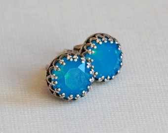 Sale-Jewelry,Earring,Post Earring,Post,Stud,Aquamarine,Blue, Earrings,Opal,Bridal Earrings Bridesmaid Gift Wedding Earrings
