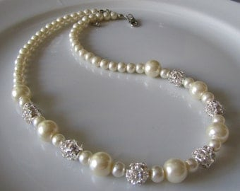 Ivory pearl necklace with crystal rhinestones, pearl necklace, bridal necklace, bridesmaid necklace, ivory wedding necklace