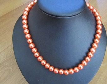 Orange pearl necklace with ***FREE EARRINGS***
