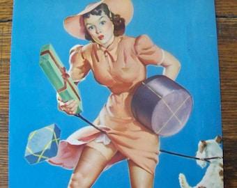 Vintage Pin Up Calendar Girl 1940s Elvgren Pin Up Girl Litho Sexy Original Lithograph