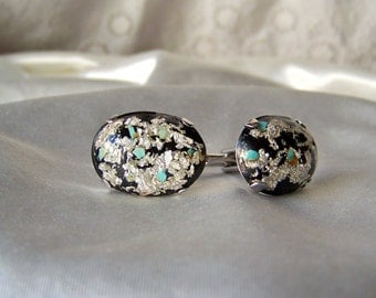 Vintage Cuff Links Hickok Silver Leaf and Turquoise Confetti Mens Jewelry Shirt and Tie Designer Cufflinks Vintage 1960s