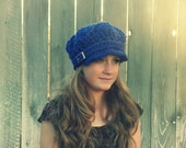 Cobalt Chunky Crochet Buckle Baker Boy Cap Teen/Women Ready to ship