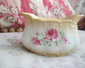Antique Victorian Sugar Container Peach White Ombre Embossed Design Pink Roses