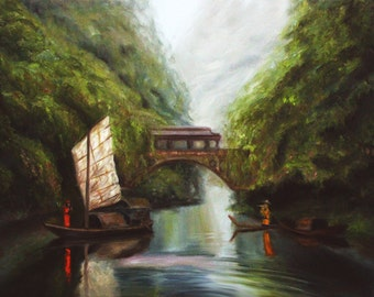 China River The Flute Player Original Oil Painting on Canvas Large By Pandalana Williams