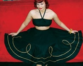 Vintage 1950s inspired black full circle skirt and matching bustier with gold braid
