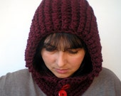 Snow Knit Bordeaux  Color  Hoodie Mixed Wool Yarn Hood Woman Hooded Cowl NEW