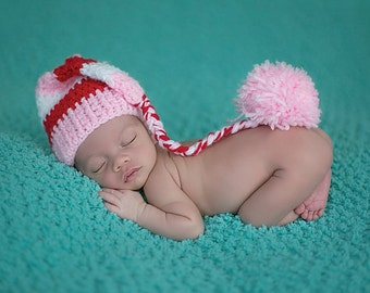 crochet elf hat, crochet newborn hat, crochet baby hat, newborn, baby, hat