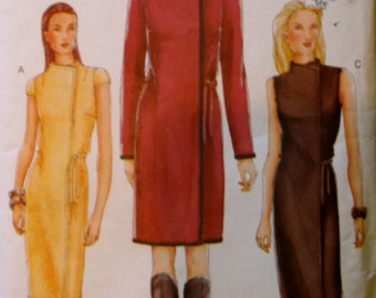 UNCUT VOGUE 7311, not quite vintage 2000 fashion, semi-fitted wrap dress in three lengths, size Misses 8-10-12