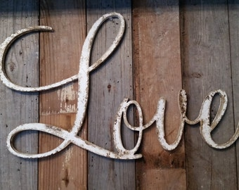White shabby chic rustic LOVE sign CUSTOMIZE your own WORD wedding decor farmhouse photo prop cottage primitive style barn decor rusty