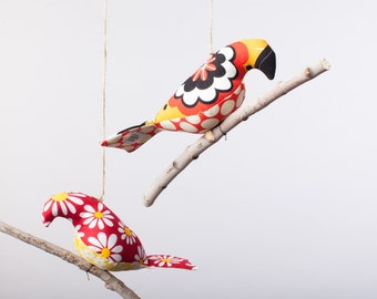 Bird on a Twig in Red and Yellow Florals