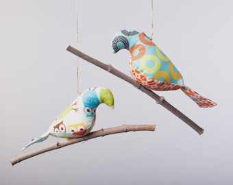 Bird on a Twig in Boyish Blues, Oranges and Yellows ~ Bird Decor ~ Woodland Creatures