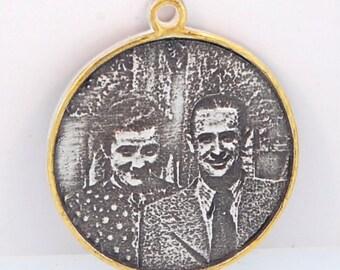 Custom Engraved Circular Photo Pendant Dipped In Gold