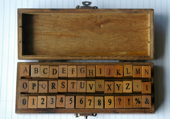 wood letters stamp kit