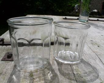 Glass Jar Collection, Antique Jam Jars, confiture pots , vintage glass, French vintage housewares, Vintage Wedding decor , outdoor wedding