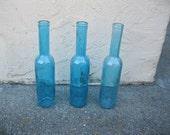 Three Blue Decorative Colored glass bottles, floral Bud vase, vintage inspired