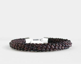 Woven Brown Bracelet, Mens Leather Bracelet, Sterling Silver Hook Clasp