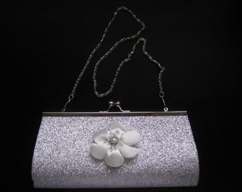 Silver Glitter Medium Clutch Purse-3 Handle Choices- White Flower  Embellishment- Formal- Prom- Wedding- Bridesmaid- MANY COLOR OPTIONS