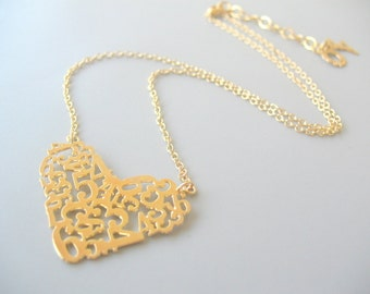 Engagement Necklace, Engagement Gift, Gold Love Engagement Necklace, Heart Pendant, One Of A Kind Keepsake