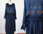 1920s Flapper Dress /  Authentic Silk Embroidered Dress / Rosette Sash