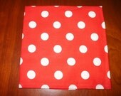 4 Red and White Polka Dot Napkins...Large... 17 inches...Stitched Hems Not Serged...FREE SHIPPING