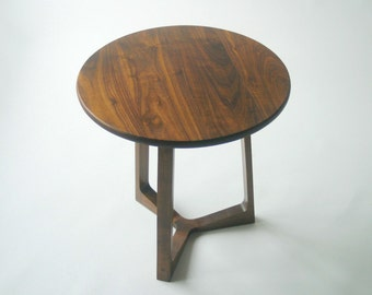 Modern side table in solid black walnut
