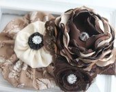 Headband brown couture flower baby for baby girls-newborn- toddler-child-teen-adult