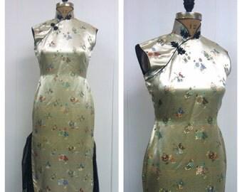 1950s Silk Cheongsam Dress 50s Chinese