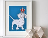 Sausage Dog In A Crown Print