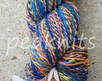 "Handspun Yarn ~ ""A Beautiful Mess"" ~ 305 yards (916 feet) Pink, Yellow, Blue and Purple 2 Ply Merino Wool  -12 wpi, Dk Weight, 7.3 ounces"