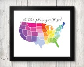 US Map Download - Rainbow - 8x10