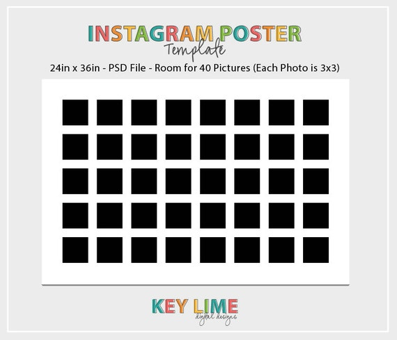 Instagram poster template 24x36 photoshop psd for Instagram template photoshop