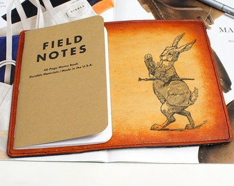 Field Notes Leather Cover - Alice in Wonderland Rabbit - Customizable - Free Personalization