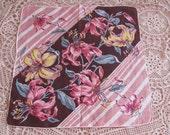 Beautiful Brown Floral Cotton Hankie Handkerchief