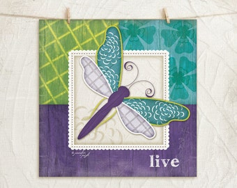 Whimsical Dragonfly-Purple-Live- 12x12 Art Print - Nursery Decor -Childrens, Girls Decor -Decorative Patterns - Purple, Green, Teal, White