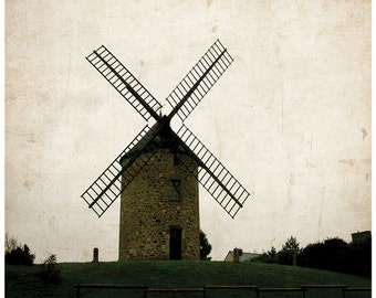 France photography, windmill, France, A Windmill in Time, 8x10 matte print
