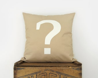 18x18 Outdoor Pillow with Question Mark Applique in White and Beige | Typography Decorative Pillow Case, Cushion Cover | Modern Patio Decor
