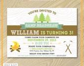 Camping Birthday Invitation - Camping Party