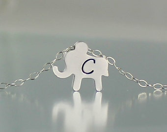 Personalized Elephant Necklace, Initial Necklace, Silver Elephant Jewelry, Custom Initial, Simple Elephant Charm, Tiny Elephant Gift For Her