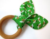 Natural Wooden Teething Ring With Cotton Bunny Ears - Green Bees Fabric - Organic Flannel Backing