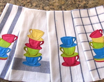 4 types, Stack of teacups, Tea party, Alice in Wonderland, curved Stack of teacups machine embroidery applique - 4,5,6 and 7 in INSTANT