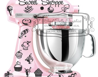 Kitchen mixer vinyl decal set 35 piece Sweet Shoppe decal set