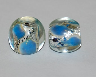 4 pcs 12x10mm Light Blue and Silver Foil Lampwork Beads