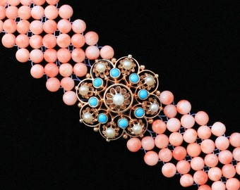 Hand Woven Coral, Turquoise and Pearl Bracelet