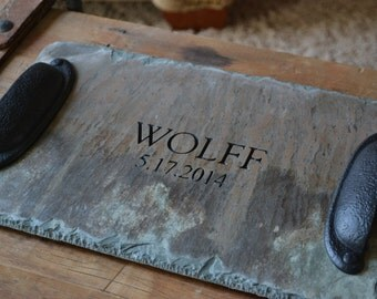 Heirloom Wedding Gift / Reclaimed Slate Server Tray / Family Name & Date Personalized #KI-100