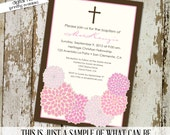 girl baptism invitation cross floral christening baby blessing baby girl shower sprinkle sip and see (item 708) shabby chic invitations